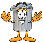 Clip Art Graphic of a Metal Trash Can Cartoon Character With Open Arms