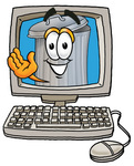 Clip Art Graphic of a Metal Trash Can Cartoon Character Waving From Inside a Computer Screen