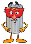 Clip Art Graphic of a Metal Trash Can Cartoon Character Wearing a Red Mask Over His Face
