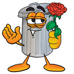Clip Art Graphic of a Metal Trash Can Cartoon Character Holding a Red Rose on Valentines Day
