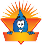 Clip Art Graphic of a Blue Waterdrop or Tear Character on a Blank Sunburst Label