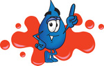 Clip Art Graphic of a Blue Waterdrop or Tear Character Pointing Upwards and Standing in Front of a Red Paint Splatter on a Logo