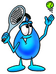 Clip Art Graphic of a Blue Waterdrop or Tear Character Preparing to Hit a Tennis Ball