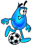 Clip Art Graphic of a Blue Waterdrop or Tear Character Kicking a Soccer Ball