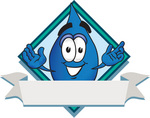 Clip Art Graphic of a Blue Waterdrop or Tear Character Over a Blank White Banner on a Label With a Diamond