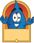 Clip Art Graphic of a Blue Waterdrop or Tear Character Over a Blank Tan Label