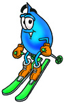 Clip Art Graphic of a Blue Waterdrop or Tear Character Skiing Downhill