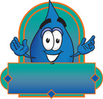 Clip Art Graphic of a Blue Waterdrop or Tear Character on a Blank Label Logo
