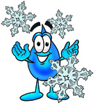 Clip Art Graphic of a Blue Waterdrop or Tear Character With Three Snowflakes in Winter