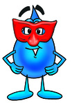 Clip Art Graphic of a Blue Waterdrop or Tear Character Wearing a Red Mask Over His Face
