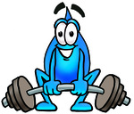 Clip Art Graphic of a Blue Waterdrop or Tear Character Lifting a Heavy Barbell
