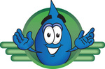 Clip Art Graphic of a Blue Waterdrop or Tear Character on a Green Business Logo