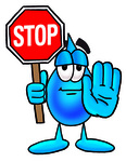 Clip Art Graphic of a Blue Waterdrop or Tear Character Holding a Stop Sign