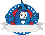 Clip Art Graphic of a Blue Waterdrop or Tear Character on an American Logo With a Blank Banner