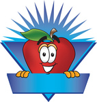 Clip art Graphic of a Red Apple Cartoon Character on a Blank Blue Label Logo