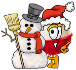 Clip art Graphic of a Fishing Bobber Cartoon Character With a Snowman on Christmas