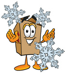 Clip Art Graphic of a Cardboard Shipping Box Cartoon Character With Three Snowflakes in Winter