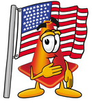 Clip Art Graphic of a Construction Traffic Cone Cartoon Character Pledging Allegiance to an American Flag