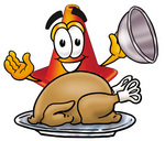 Clip Art Graphic of a Construction Traffic Cone Cartoon Character Serving a Thanksgiving Turkey on a Platter