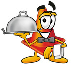 Clip Art Graphic of a Construction Traffic Cone Cartoon Character Dressed as a Waiter and Holding a Serving Platter