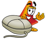 Clip Art Graphic of a Construction Traffic Cone Cartoon Character With a Computer Mouse