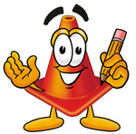Clip Art Graphic of a Construction Traffic Cone Cartoon Character Holding a Pencil