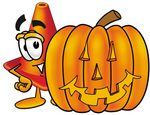 Clip Art Graphic of a Construction Traffic Cone Cartoon Character With a Carved Halloween Pumpkin
