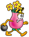 Clip Art Graphic of a Pink Vase And Yellow Flowers Cartoon Character Holding a Bowling Ball