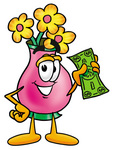 Clip Art Graphic of a Pink Vase And Yellow Flowers Cartoon Character Holding a Dollar Bill