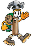 Clip Art Graphic of a Hammer Tool Cartoon Character Hiking and Carrying a Backpack