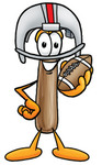 Clip Art Graphic of a Hammer Tool Cartoon Character in a Helmet, Holding a Football