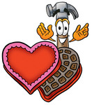 Clip Art Graphic of a Hammer Tool Cartoon Character With an Open Box of Valentines Day Chocolate Candies