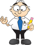 Clip Art Graphic of a Geeky Caucasian Businessman Cartoon Character Holding a Pencil