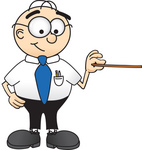 Clip Art Graphic of a Geeky Caucasian Businessman Cartoon Character Holding a Pointer Stick