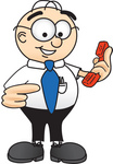 Clip Art Graphic of a Geeky Caucasian Businessman Cartoon Character Holding a Telephone