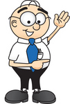 Clip Art Graphic of a Geeky Caucasian Businessman Cartoon Character Waving and Pointing