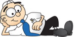 Clip Art Graphic of a Geeky Caucasian Businessman Cartoon Character Resting His Head on His Hand