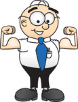 Clip Art Graphic of a Geeky Caucasian Businessman Cartoon Character Flexing His Arm Muscles