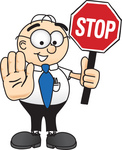 Clip Art Graphic of a Geeky Caucasian Businessman Cartoon Character Holding a Stop Sign