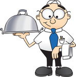 Clip Art Graphic of a Geeky Caucasian Businessman Cartoon Character Serving a Platter