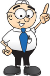 Clip Art Graphic of a Geeky Caucasian Businessman Cartoon Character Pointing Upwards