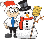 Clip Art Graphic of a Geeky Caucasian Businessman Cartoon Character With a Snowman on Christmas