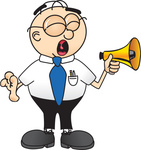 Clip Art Graphic of a Geeky Caucasian Businessman Cartoon Character Screaming Into a Megaphone