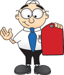 Clip Art Graphic of a Geeky Caucasian Businessman Cartoon Character Holding a Red Sales Price Tag