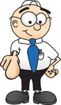 Clip Art Graphic of a Geeky Caucasian Businessman Cartoon Character Pointing at the Viewer