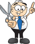 Clip Art Graphic of a Geeky Caucasian Businessman Cartoon Character Holding a Pair of Scissors
