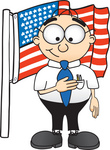 Clip Art Graphic of a Geeky Caucasian Businessman Cartoon Character Pledging Allegiance to an American Flag