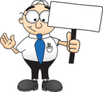 Clip Art Graphic of a Geeky Caucasian Businessman Cartoon Character Holding a Blank Sign