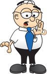 Clip Art Graphic of a Geeky Caucasian Businessman Cartoon Character Whispering and Gossiping