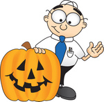 Clip Art Graphic of a Geeky Caucasian Businessman Cartoon Character With a Carved Halloween Pumpkin